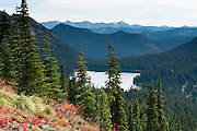 Dewey Lakes. In Mount Rainier National Park, the Naches Peak Loop Trail is a 5 mile loop starting near Chinook Pass on Highway 410 between Enumclaw and Yakima, Washington, USA.
