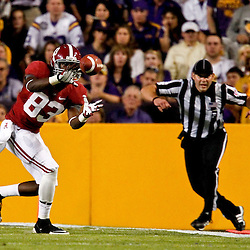 November 3, 2012; Baton Rouge, LA, USA; Alabama Crimson Tide wide receiver Kevin Norwood (83) catches a pass against the LSU Tigers  during the second quarter of a game at Tiger Stadium.  Mandatory Credit: Derick E. Hingle-US PRESSWIRE