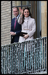 The Duke and Duchess of Cambridge on the balcony of  the Guildhall in Cambridge, Wednesday , 28th November 2012. .Photo by: Stephen Lock / i-Images