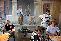 Italie. Sardaigne. Peintures murales dans un bar du village de San Sperate. // Italy, Sardinia, Mural painting on the bar of the village of San Sperate.