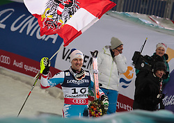 11.02.2013, Planai, Schladming, AUT, FIS Weltmeisterschaften Ski Alpin, Super Kombination, Slalom, Herren, Siegerpraesentation, im Bild Romed Baumann (AUT, 3. Platz) // Romed Baumann of Austria, 3rd place, Winners Presentation, after teir runs at Mens Super Combined Slalom at the FIS Ski World Championships 2013 at the Planai Course, Schladming, Austria on 2013/02/11. EXPA Pictures © 2013, PhotoCredit: EXPA/ Sammy Minkoff