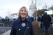 Linda Ackerman, 72, California<br /> <br /> President Trump Inauguration in Washington_DC_01_2017 with reporter Peter Hossli.<br /> <br /> Photo &copy; Stefan Falke / www.stefanfalke.com stefanfalke@mac.com <br /> 917-2149029
