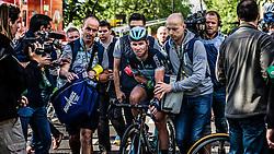 Mark Cavendish (GBR) of Omega Pharma - Quick Step after his crash, Tour de France, Stage 1: Leeds > Harrogate, UCI WorldTour, 2.UWT, Harrogate, United Kingdom, 5th July 2014, Photo by Pim Nijland / PelotonPhotos.com