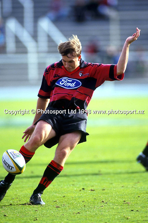 Andrew Mehrtens kicking, Canterbury Crusaders, Super 12 Rugby Union. 1998. Photo: Scott Barbour/PHOTOSPORT