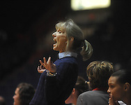 """Ole Miss basketball coach Renee Ladner in a NCAA women's college basketball game at the C.M. """"Tad"""" Smith in Oxford, Miss. on Thursday, February 10, 2011.   Mississippi State won 59-43.."""