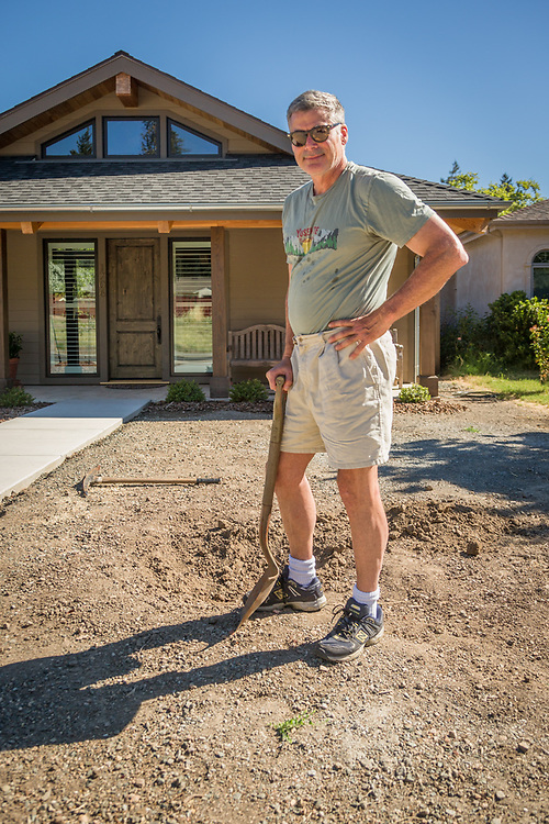 """""""I'm digging a hole for a giant rock...I can't wait to move up here permanently.""""  -Brad Darfler works on his front yard in Calistoga"""