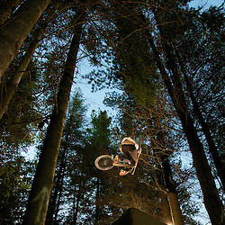 """Lights in the woods - Lighting photo shoot in the BMX forest trails of Wanaka,  New Zealand. With local rider James """"Jimmy"""" Keane and Canadian Cory Clarke."""