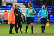 Assistant Manager Chris Beech complains to Ref Chris Sarginson after the match during the EFL Sky Bet League 1 match between Peterborough United and Rochdale at London Road, Peterborough, England on 25 February 2017. Photo by Daniel Youngs.