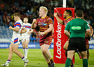 Matty English of Huddersfield Giants  celebrates scoring the try with team mate Kruise Leeming against Wakefield Trinity during the Ladbrokes Challenge Cup match at the John Smiths Stadium, Huddersfield<br /> Picture by Stephen Gaunt/Focus Images Ltd +447904 833202<br /> 11/05/2018
