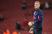 Arsenal goalkeeper Bernd Leno (19) warms up prior to the Europa League group stage match between Arsenal and FC Voskla Potlava at the Emirates Stadium, London, England on 20 September 2018.