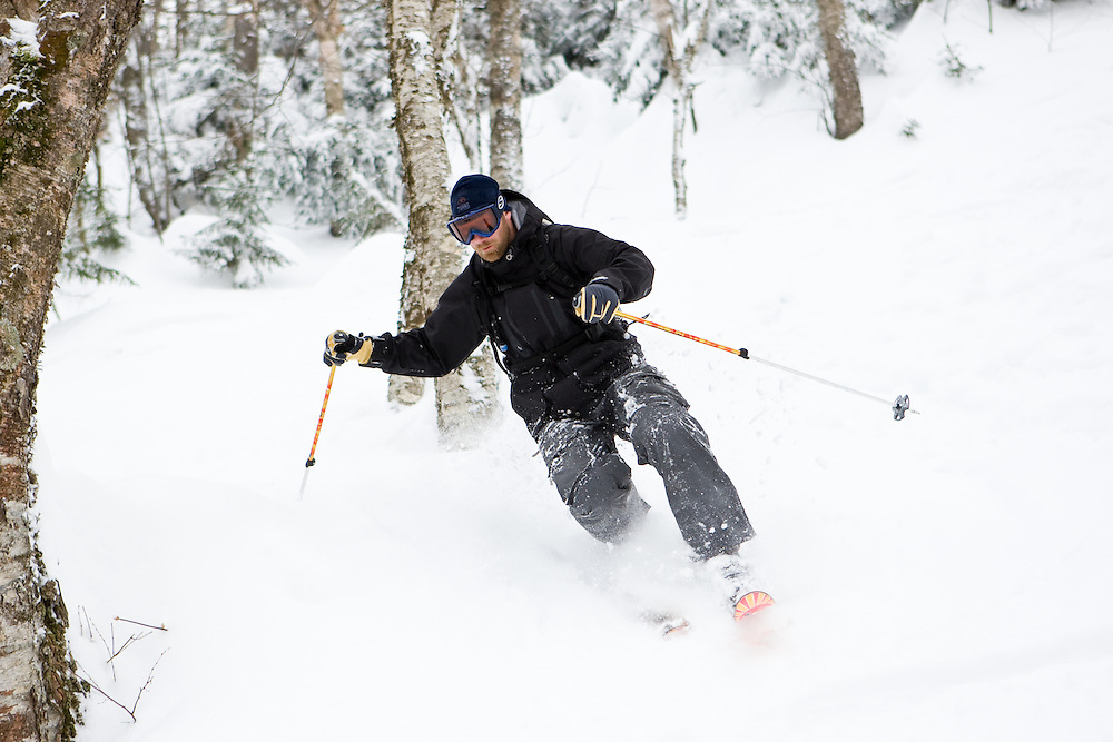 Telemark skiing the Mount Mansfield backcountry in Stowe, Vermont MR