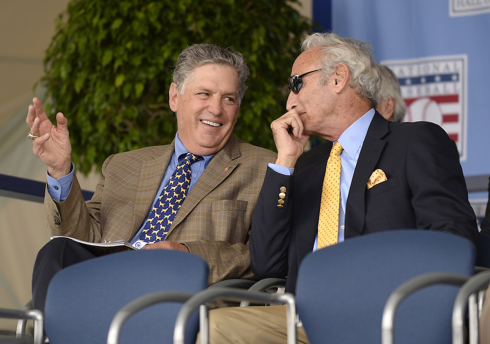 COOPERSTOWN, NY - JULY 27:  Baseball Hall of Famers Tom Seaver (L) and Sandy Koufax chat prior to the 2014 induction ceremonies held at the Clark Sports Center in Cooperstown, New York on July 27 2014.