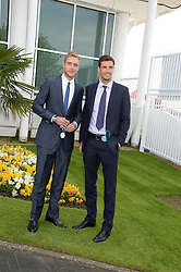 Left to right, England cricketers STUART BROAD and STEVEN FINN at the Investec Derby 2013 held at Epsom Racecourse, Epsom, Surrey on 1st June 2013.