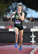May 3, 2018; Stanford, CA, USA; Marie Bouchard (9) of San Francisco wins the women's steeplechase in 9:41.32 during the Payton Jordan Invitational at Cobb Track &  Angell Field.