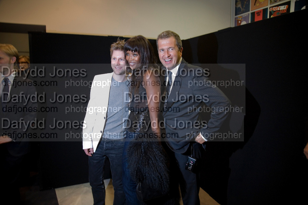 CHRISTOPHER BAILEY, MARIO TESTINO AND NAOMI CAMPBELL, Vanity Fair Portraits: Photographs 1913-2008. Hosted by Burberry and Vanity Fair. National Portrait Gallery. London. 9 February 2008.  *** Local Caption *** -DO NOT ARCHIVE-© Copyright Photograph by Dafydd Jones. 248 Clapham Rd. London SW9 0PZ. Tel 0207 820 0771. www.dafjones.com.
