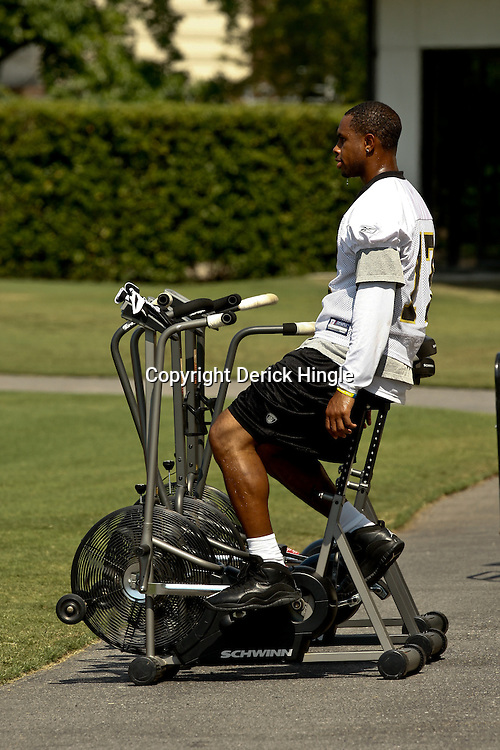 August 1, 2010; Metairie, LA, USA; New Orleans Saints wide receiver Robert Meachem (17) rides a stationary bike during a training camp practice at the New Orleans Saints practice facility. Mandatory Credit: Derick E. Hingle