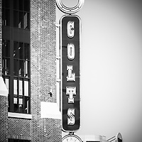Indianapolis Colts sign picture in black and white. The sign is on Lucas Oil Stadium in Indianapolis Indiana where the Indianapolis Colts play. The Indianapolis Colts are an NFL professional football team for the state of Idiana.