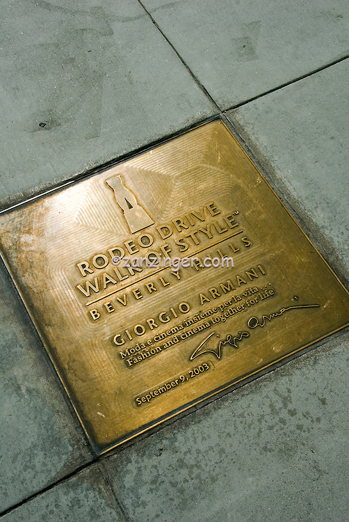 Rodeo Drive Walk of Style Plaque, Giorgio Armani , Vertical image