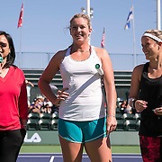 March 7, 2015, Indian Wells, California:<br /> Peanut introduces the John Wooden Sportsmanship pledge alongside Coco Vandeweghe and Nicole Gibbs during Kids Day at the Indian Wells Tennis Garden in Indian Wells, California Saturday, March 7, 2015.<br /> (Photo by Billie Weiss/BNP Paribas Open)