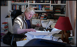 The London Mayor Boris Johnson working on his London Economy Manifesto speech in his office at home in London, before launching the manifesto in Croydon later that morning, London, UK, Wednesday April 4, 2012. Photo By Andrew Parsons/ i-Images...
