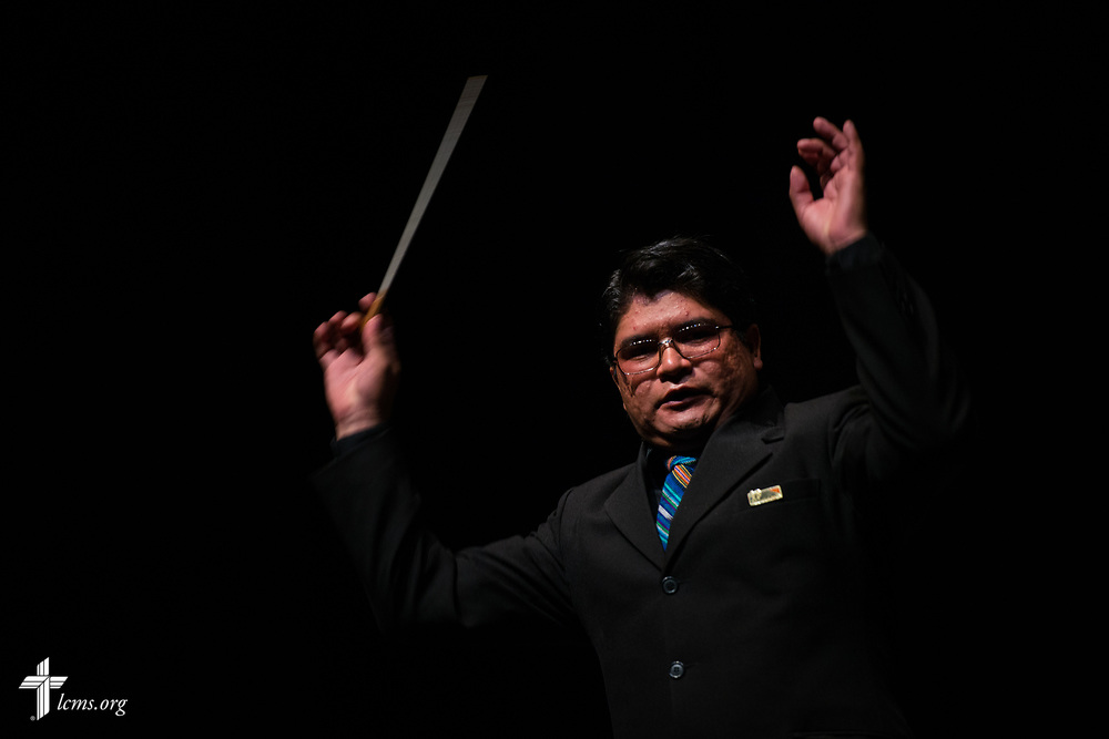 A conductor conducts at the Teatro Nacional during a celebration of the 500th anniversary of the Lutheran Reformation on Thursday, Oct. 5, 2017, in Guatemala City, Guatemala. LCMS Communications/Erik M. Lunsford