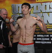 Picture by Ramsey Cardy/Focus Images Ltd +44 7809 235323.08/02/2013.Jamie Conlan weighs in for his fight v Mike Robinson  in Odyssey Arena, Belfast.