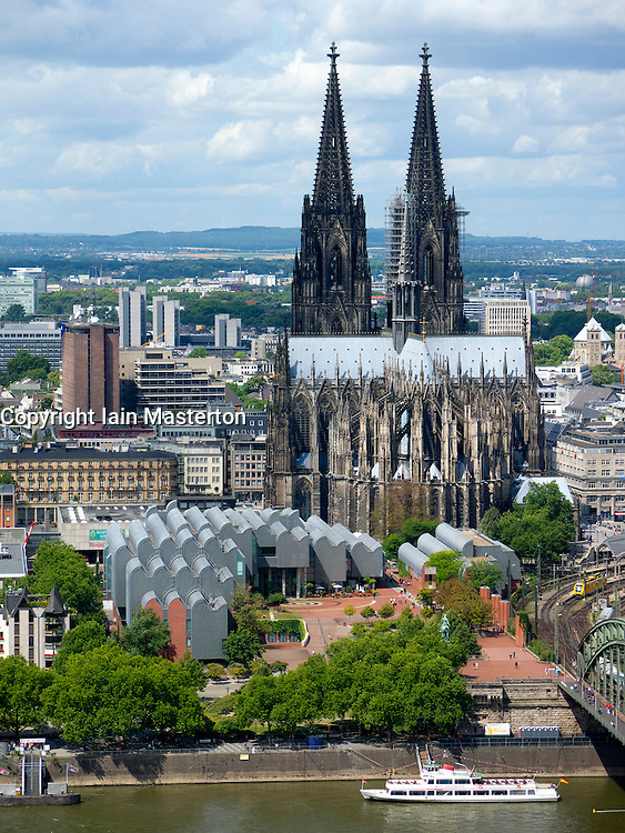 Exterior view of Museum Ludwig and Dom or Cathedral  in Cologne Germany