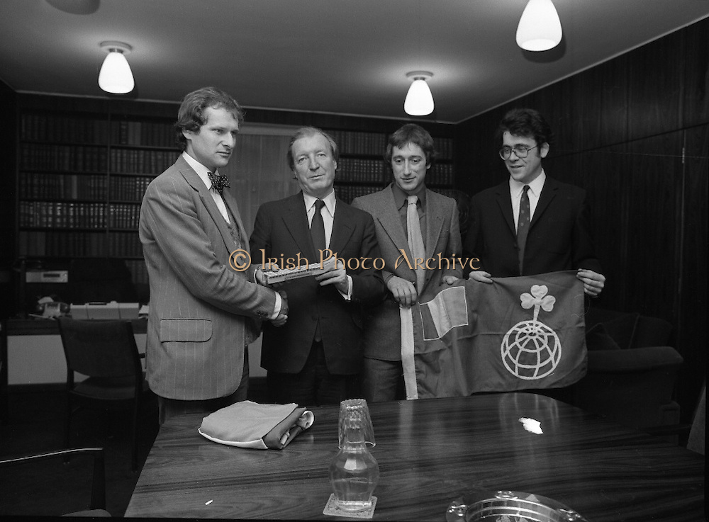 Taoiseach Receives Irish Arctic Expedition.  (N63)..1981..25.02.1981..02.25.1981..25th February 1981..Prior to their departure to Resolute Bay, Canada, the Irish Arctic Expedition paid a courtesy visit to An Taoiseach, Mr Charles Haughey at Government Buildings...An Taoiseach, Charles Haughey, is pictured accepting a miniature of the sled that the expedition will use from Mr Danny Osbourne. Dr Gerry Wardell and Mr John O'Mara look on.