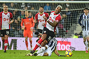 West Bromwich Albion midfielder Matt Philips (10) dives in to tackle and foul  Southampton midfielder Mario Lamina (18) during the Premier League match between West Bromwich Albion and Southampton at The Hawthorns, West Bromwich, England on 3 February 2018. Picture by Dennis Goodwin.