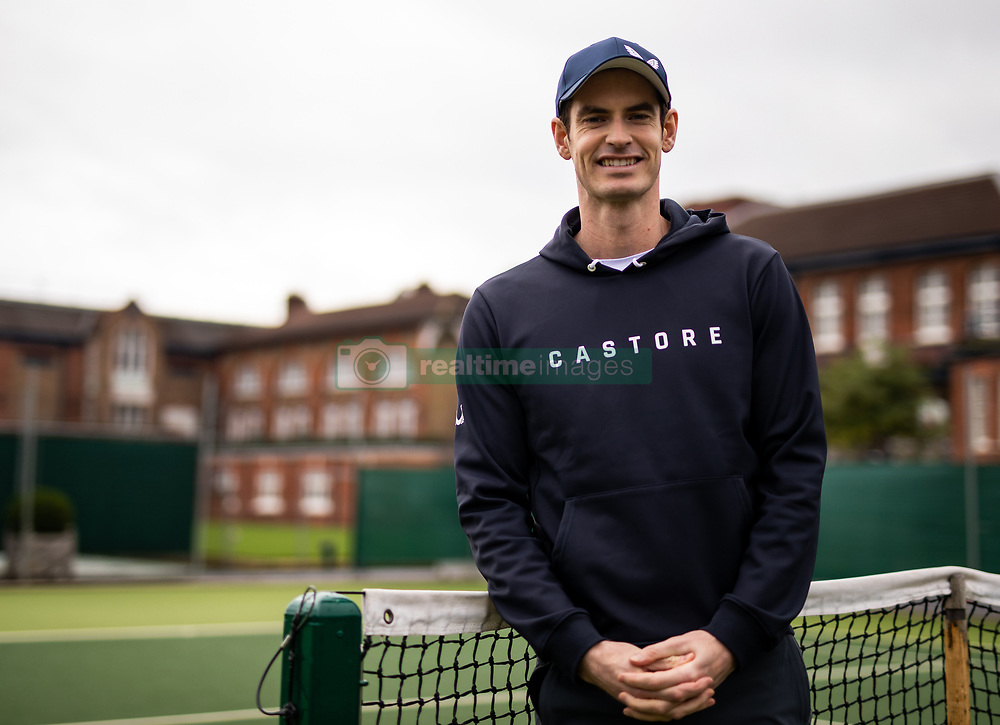Andy Murray poses during the Castore partnership announcement at the Queen's Club, London.