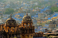 A high view of the blue city seen from the top of the jodhpur fort, India