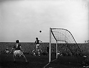 17/03/1960<br /> 03/17/1960<br /> 17 March 1960<br /> Soccer: League of Ireland v Hessen Football Association at Dalymount Park, Dublin.<br /> A near miss by Hamilton (Ireland), as with Hessian Goalie Leichum well beaten, he heads over the bar.