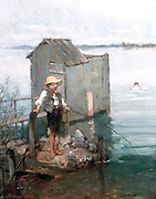 Bathing Hut with Boy Fishing' 1868.  Pal Szinyei Merse (1845-1920) Hungarian painter. Water Bather Swimmer Rod Hat Straw  Peaceful