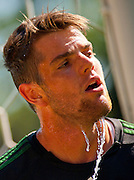 Sept. 16, 2012 - Portland, Oregon, US - Portland Timbers goalkeeper JAKE GLEESON (90/green) cools off during a hot afternoon game with the Seattle Sounders Reserves. Portland took the win 3-2. (Credit Image: © Ken Hawkins/ZUMAPRESS.com)