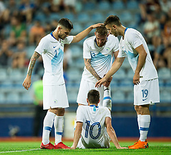 Petar Stojanovic of Slovenia, Zan Majer of Slovenia, Andraz Sporar of Slovenia and Miha Zajc of Slovenia of Slovenia celebrate after Zajc scored second goal  for Slovenia during friendly football match between National Teams of Montenegro and Slovenia, on June 2, 2018 in Stadium Pod goricom, Podgorica, Montenegro. Photo by Vid Ponikvar / Sportida