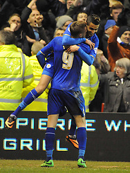 Leicesters Riyad Mahrez, Jumps  to Celebrates his goal at Nottingham Forest, Nottingham Forest v Leicester City, City Ground Nottingham,  Sky Bet Championship, 19th Febuary 2014