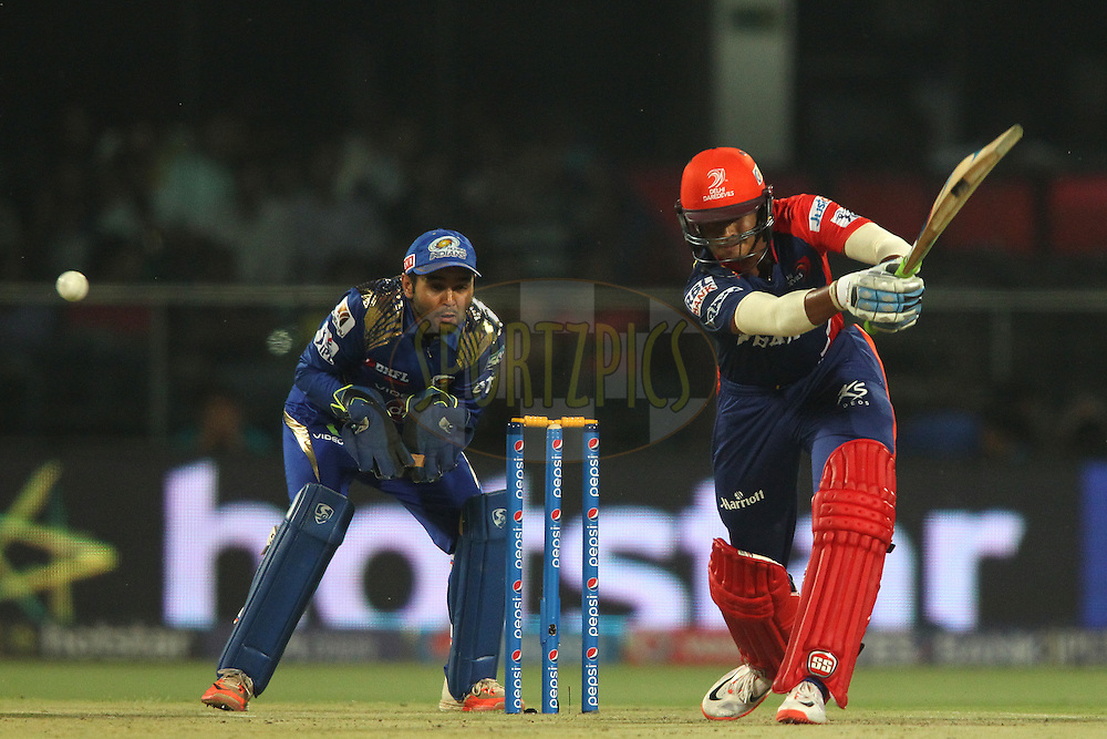 Shreyas Iyer of the Delhi Daredevils miss times his drive during match 21 of the Pepsi IPL 2015 (Indian Premier League) between The Delhi Daredevils and The Mumbai Indians held at the Ferozeshah Kotla stadium in Delhi, India on the 23rd April 2015.<br /> <br /> Photo by:  Shaun Roy / SPORTZPICS / IPL