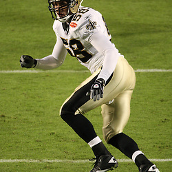 2010 February 07: New Orleans Saints linebacker Scott Shanle (58) drops into coverage during a 31-17 win by the New Orleans Saints over the Indianapolis Colts in Super Bowl XLIV at Sun Life Stadium in Miami Gardens, Florida.
