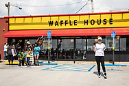 Saraland Alabama, May 20, 2018,<br /> supporters of Chikesia  Clemons leaving the Waffle House where she was arrested after a March for Justice for Chikesia Clemons. The group occupied the Waffle House before breaking up after laying out their demands for justice.