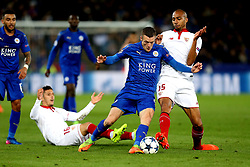Jamie Vardy of Leicester City takes on Steven N'Zonzi of Sevilla - Mandatory by-line: Robbie Stephenson/JMP - 14/03/2017 - FOOTBALL - King Power Stadium - Leicester, England - Leicester City v Sevilla - UEFA Champions League round of 16, second leg