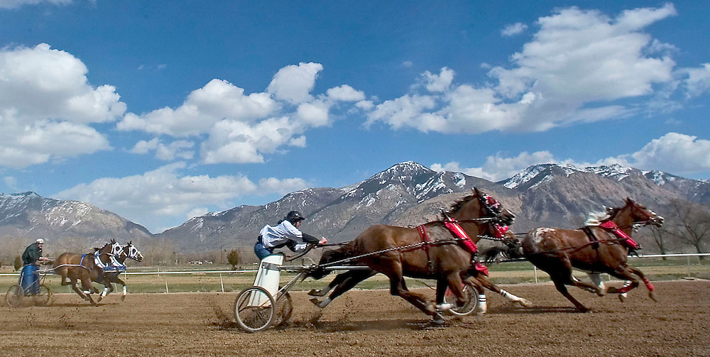 With the Wasatch mountains as a backdrop, teams in the 5th Division race in the preliminary round of the preliminary races at the first weekend of the World Championship Chariot Races in Ogden, Utah Saturday March 19, 2005. August Miller/ Deseret Morning News DIGITAL PHOTOGRAPH