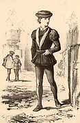 A London apprentice in the 16th century.  An apprentice was legally bound by Indentures to serve one master for a number of years to learn a trade or a craft. 19th century lithograph.