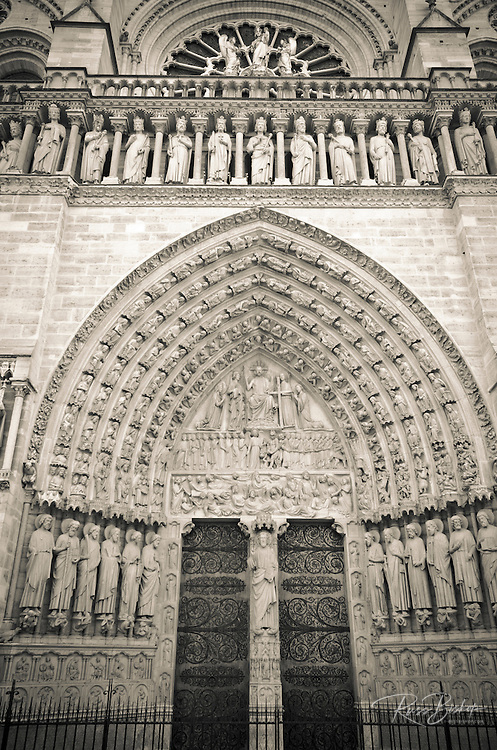 The main entrance to Notre Dame Cathedral, Paris, France