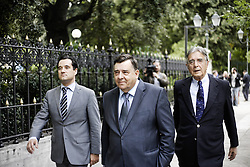 Karatzaferis and members of his Party leaves the Presidential Mansion. George Karatzaferis, leader of the nationalist opposition party LAOS. Athens, Greece, 7.11.2011. Photo By Imago/i-Images