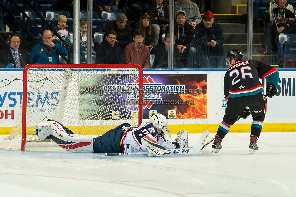 KELOWNA, CANADA - DECEMBER 5:  Talyn Boyko #31 of the Tri-City Americans makes a shoot out save on a shoot out shot by Liam Kindree #26 of the Kelowna Rockets on December 5, 2018 at Prospera Place in Kelowna, British Columbia, Canada.  (Photo by Marissa Baecker/Shoot the Breeze)