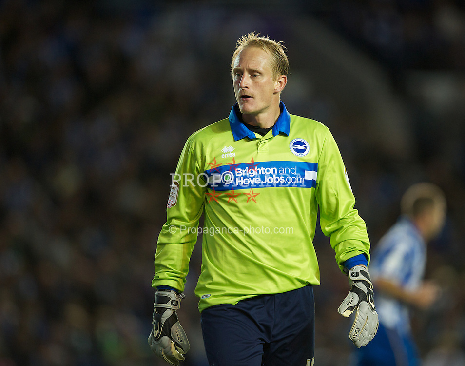 BRIGHTON, ENGLAND - Wednesday, September 21, 2011: Brighton & Hove Albion's goalkeeper Casper Ankergren in action against Liverpool during the Football League Cup 3rd Round match at the Amex Stadium. (Pic by David Rawcliffe/Propaganda)