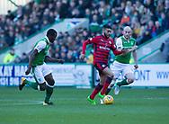 4th November 2017, Easter Road, Edinburgh, Scotland; Scottish Premiership football, Hibernian versus Dundee; Dundee's Faissal El Bakhtaoui races between Hibernian's Efe Ambrose and David Gray