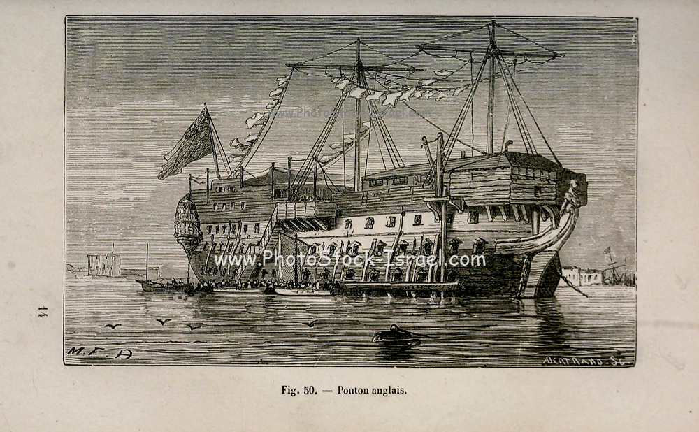 19th century Woodcut print on paper of an English pontoon from L'art Naval by Leon Renard, Published in 1881