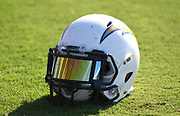 Nov 9, 2017; Costa Mesa, CA, USA; General overall view of Los Angeles Chargers helmet of linebacker Charmeachealle Moore during practice at the Hoag Performance Center.