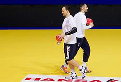 Peter Pucelj and Dragan Gajic during practice of Slovenia Men Handball team 1 day before the beginning of 10th EHF European Handball Championship Serbia 2012, on January 14, 2012 in Vrsac, Serbia.  (Photo By Vid Ponikvar / Sportida.com)
